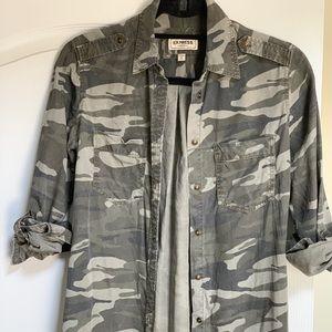 Express Boyfriend Camo Twill Shirt